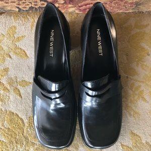 "Nine West black leather penny loafers 2"" heel"